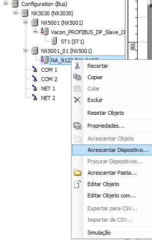 Após, clicar com o botão direito do mouse sobre o ícone deste, para abrir o  menu de contexto mostrado abaixo e selecionar a opção Acrescentar  Dispositivo. 05adb8742b