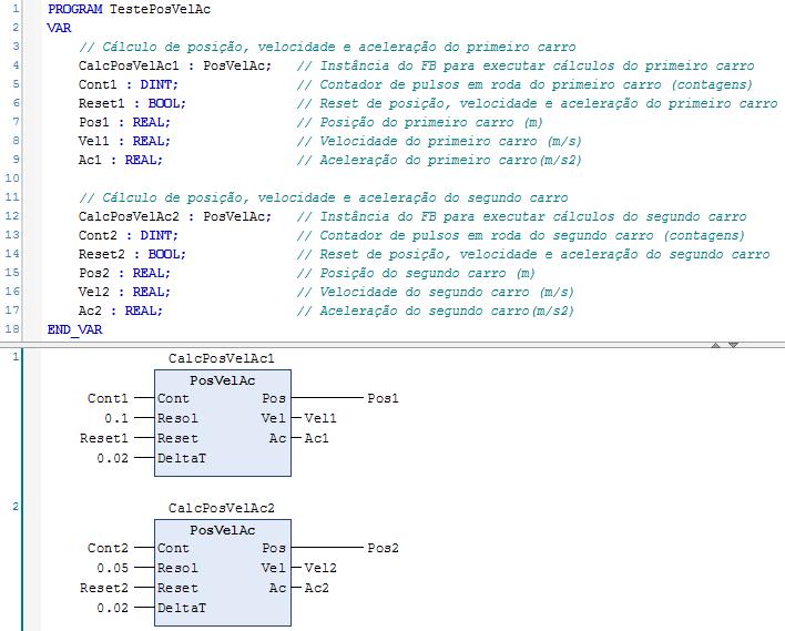 Figura 1 – Declaração e chamada das instâncias do FB PosVelAc