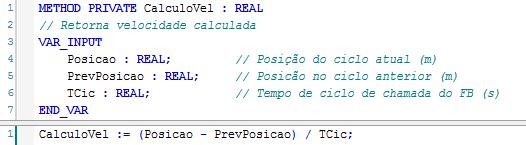 Figura 5 – Implementação do método CalculoVel