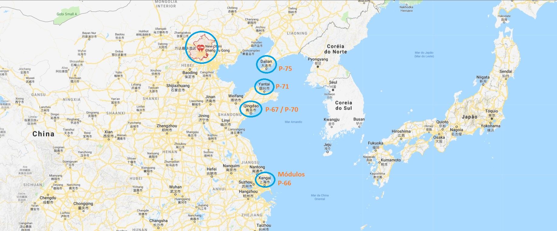 Mapa com os locais onde a Altus atua na China