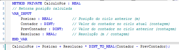 Figura 4 – Implementação do método CalculoPos