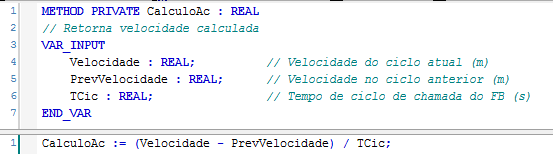 Figura 6 – Implementação do método CalculoAc